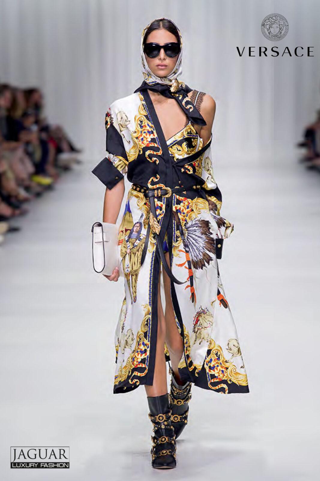 Versace Dress Black Print Jaguar Mode