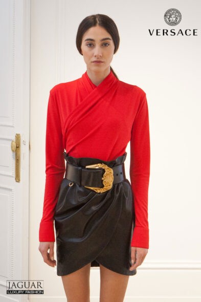 Versace skirt leather