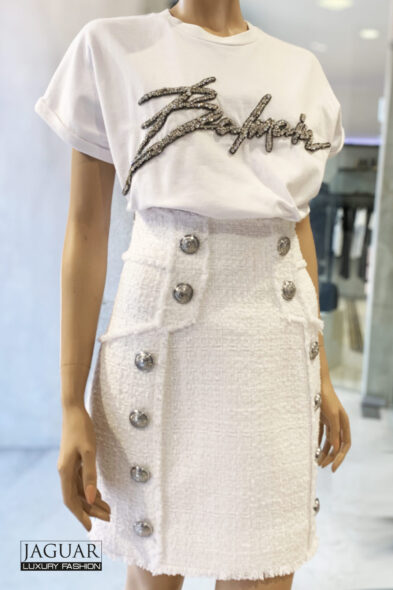 Balmain skirt white buttons