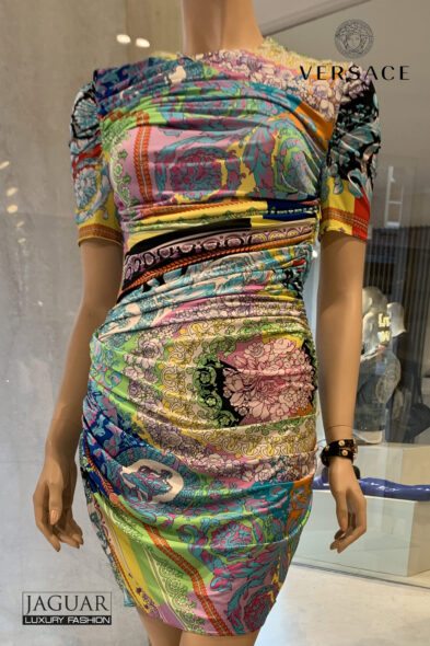 Versace technicolor baroque dress
