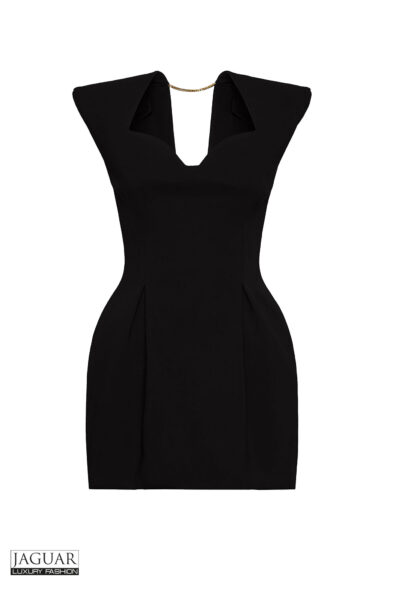 HERITAGE NECKLINE CRÊPE MINI DRESS