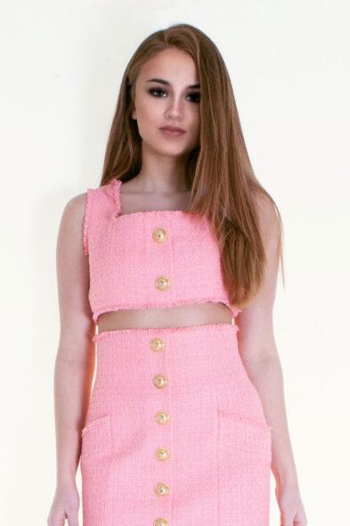 Balmain crop top tweed pink