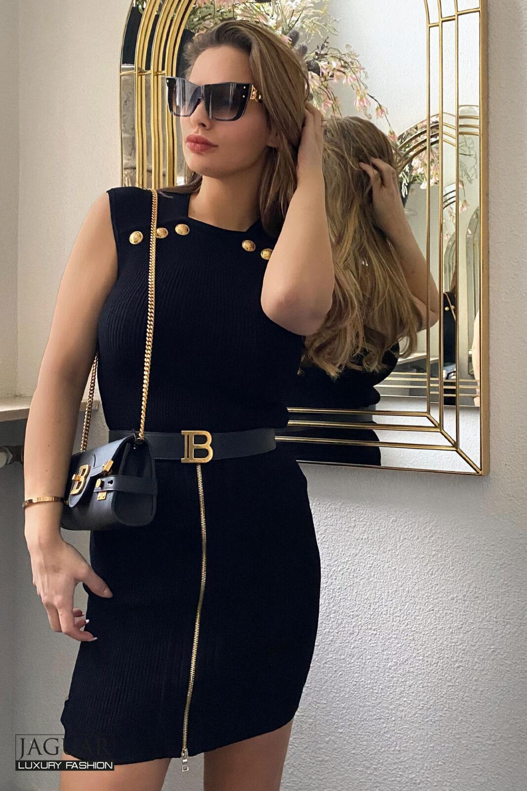 Balmain knit skirt black