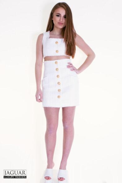 Balmain skirt tweed white