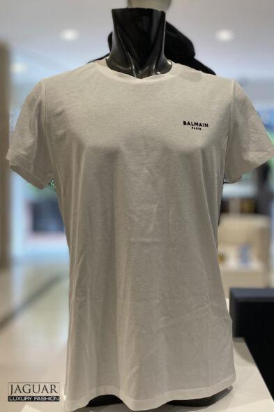 Balmain white t-shirt black velvet logo