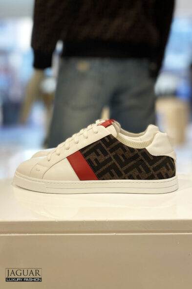 Fendi sneakers white/brown/ red